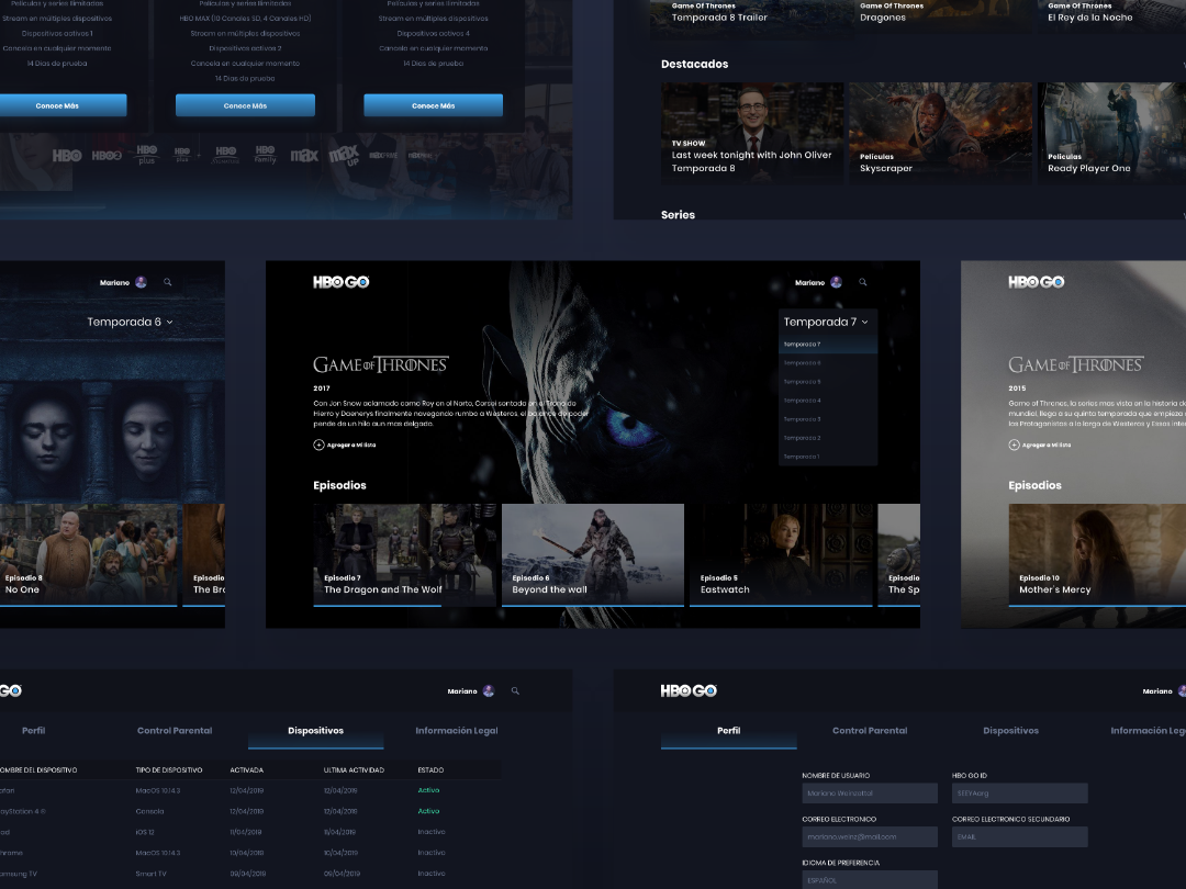 HBO GO: Game Of Thrones by Mariano Weinzettel on Dribbble