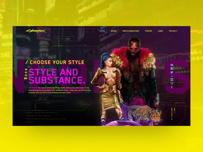 Cyberpunk2077 - Slider concept creative uiux uxdesign uidesign glitch futuristic gaming neon concept website slider cyberpunk2077