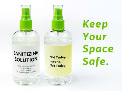 Sanitizing Bottles cql pro corona sanitizer bottle graphic design typography minimal flat marketing branding