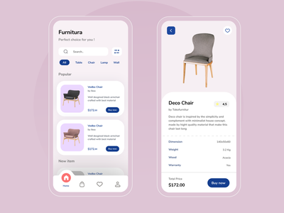 Furniture mobile app app mobile app design app app design furniture chair ux ui product design branding interior design architecture modern soft calm clean application ios android