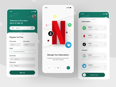 Subsription management mobile app branding cards password sign up registration management profile card login chat android ios uiux ux ui clean ui app mobile app clean mobile