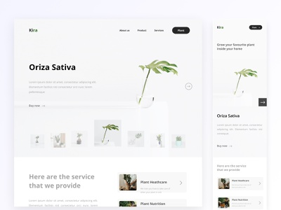 Plant store design ux ui design clean interior mobile app mobile vector homepage garden product pot website uiux furniture green plant white