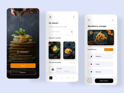 Cooking guide mobile app modern ui clean ui recipe app eat food and drink recipes ios clean black white recipe restaurant food cooking mobile mobile application mobile app