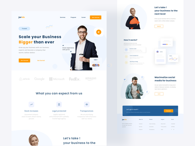 Business scale Landing page illustration dashboard clean ui ecommerce food agency finance element graph chart blue white business clean money landing page uiux ui website web design