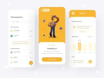 Transaction History mobile app ecommerce money clean ui uiux ui minimal dashboard yellow white clean graphic chart illustration 3d mobile design design app mobile transaction mobile app