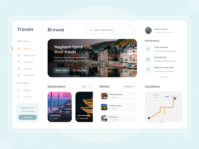 Travel booking dashboard android ios mobile app ui web design website white dashboard ui maps map management hotel blue ticket vacations clean desktop dashboard booking travel