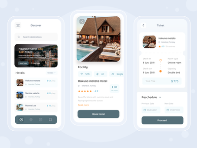 Booking Hotel Mobile app clean travelling vacations profile search ios ui mobile white mobile app