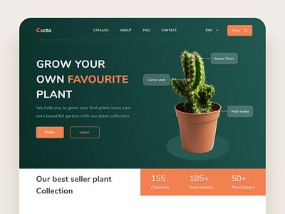 Plant Store Landing Page illustration design task garden desktop branding pot water cactus mobile app uiux ui white ecommerce store clean green plant website