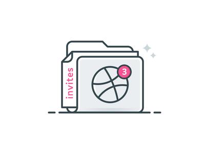 3x Dribbble Invites faded illustration icon dribbble invites