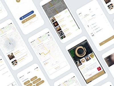Restaurant Booking App flat typography design principle animation ios app iphone sleek ui ux clean minimal