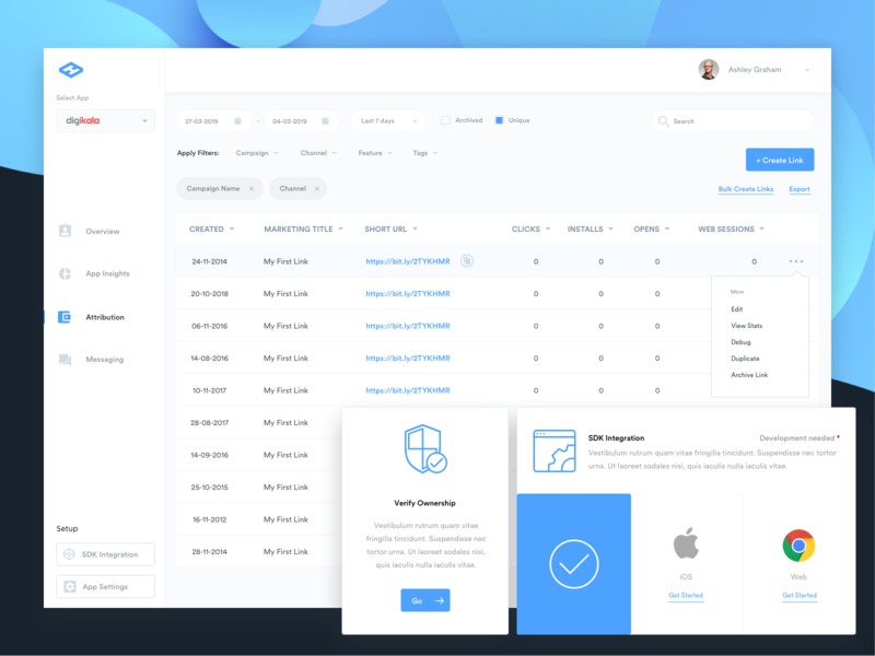 Dashboard Attributions dashboard typography sleek design ux ui flat clean minimal