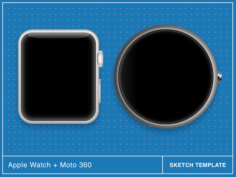 Apple Watch and Moto 360 Sketch Template v1.1 360 apple moto smartwatch template watch freebie