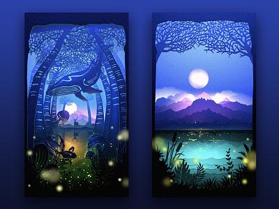 Secret Forest light plant animal lake moon mushroom golden fish whale forest