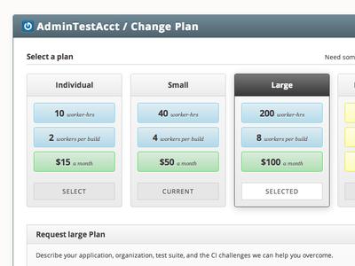 Tddium Change Plan Selected