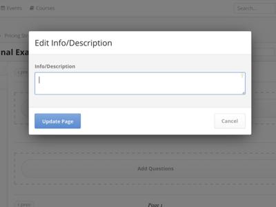 Assessment Admin Info Modal