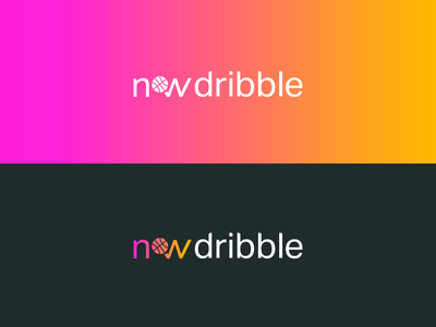 NOW Dribble Logo gradient sans serif type orange pink comingsoon app logo basketball