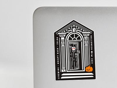 Team Halloween Event Sticker house skeleton jack-o-lantern sticker illustration eyes coffin pumpkin skull door halloween