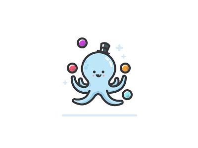 Juggling Assignments sparkle hat juggle octopus lines illustration onboarding on-boarding