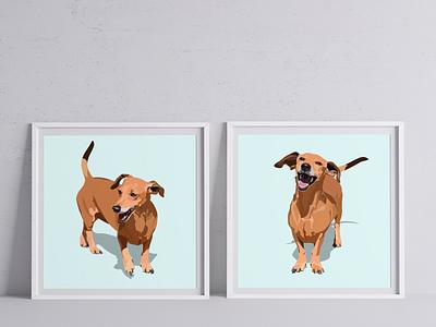 Lolly the sausage dog adobe illustrator illustration digital art vector pet portraits