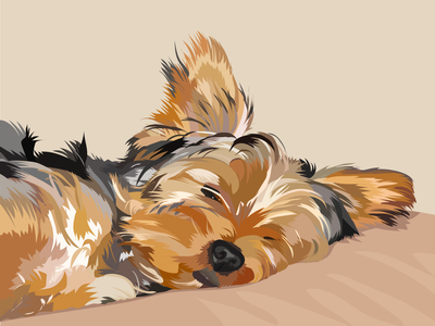 A very sleepy yorkie vector pet portrait digital art illustration adobe illustrator