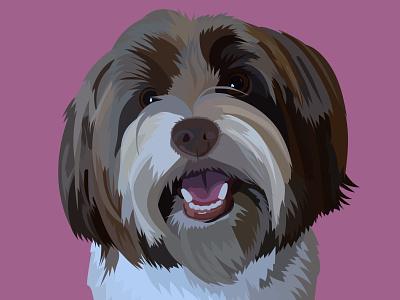 Josef the Biewer Yorkie's digital portrait pet portrait vector illustration digital art adobe illustrator
