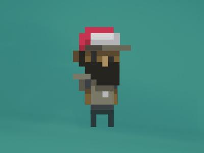 Beardy Man pixel beard flat design 8bit trucker hat
