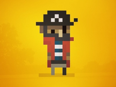 Capn Pixel pixel beard flat design 8bit pirate capn