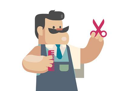 The Barber barber vector scissors moustash illustration flatdesign characterdesign