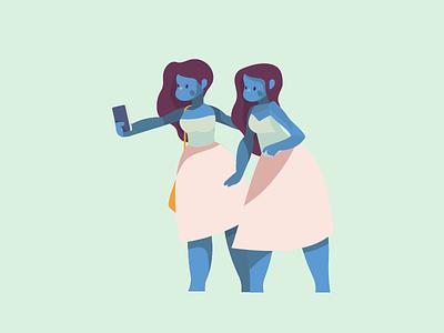Selfie Twins metaphor illustration girls graphics fun flat design character selfie socialmedia
