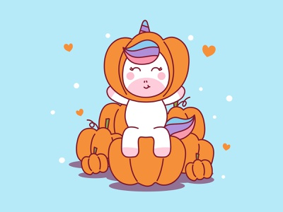 Unicorn Pumpkin Illustration pumpkin halloween unicorn draw mascot character colorful flat children kids cute cartoon vector illustration