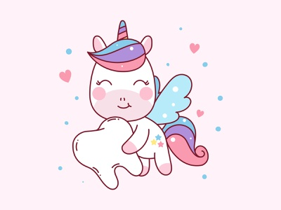 Teeth Unicorn Illustration wings unicorn teeth draw mascot character colorful flat children kids cute cartoon vector illustration