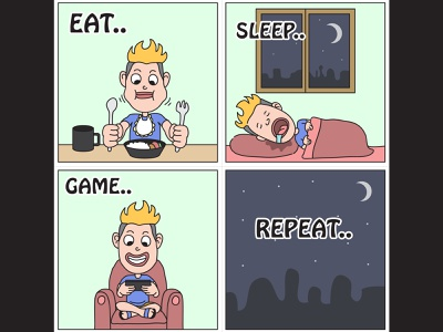 Gamer Cycle quote joke lol funny character repeat eat sleep gamer cartoon comic strips comic illustration gamer cycle cycle game