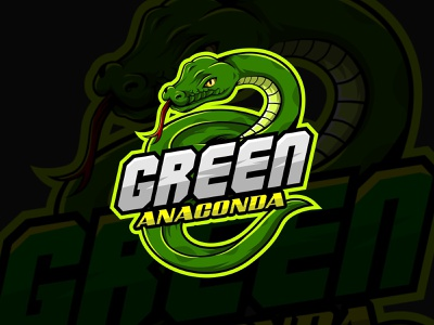 Green Anaconda anaconda animal gamers game branding esport youtube twitch streamer logo mascot illustration