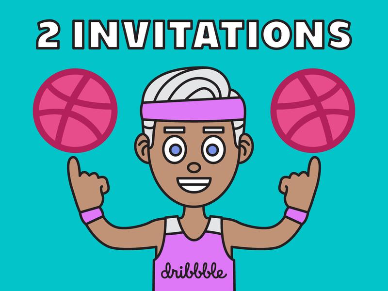 2 Dribbble Invitations illustrator graphic design vector cartoon illustration invite dribbble invitation dribbble invitations dribbble invitations invitation