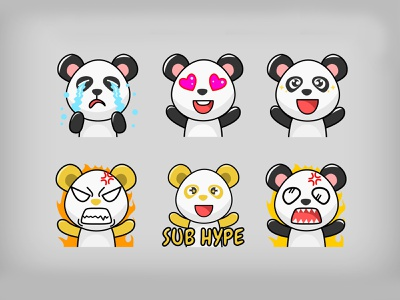 Panda Twitch Emotes discord youtube sub badge affiliate emoji badge sub badges expression sad gg hype love happy streamer gamer game emotes emote twitch angry