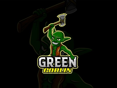 Green Goblin Esport Logo monster illustration vector brand character discord streamer youtube twitch gamer game mascot logo esport goblin green
