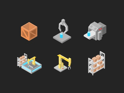 Isometric Icon vector sign symbol graphic design graphic illustration technology tech industry product conveyance machine delivery package rack crate isometric isometric icon icon icon design