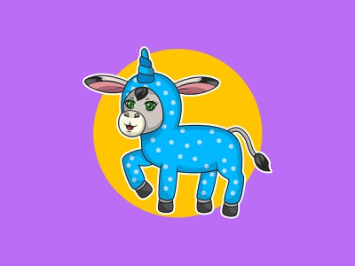 Cute Donkey draw colorful kids art mascot children vector character cartoon illustration cute animal cute donkey