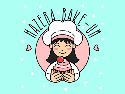 Girls Cup cakes Logo chef girls logo cupcake food cupcakes flat draw colorful art mascot children cute character vector cartoon illustration