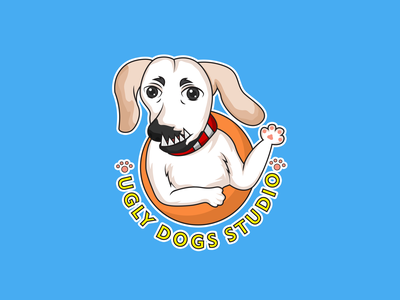 Ugly Dog brand kids colorful draw mascot logo character cute vector cartoon illustration dog animal ugly dog