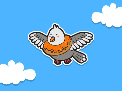 Bird Donuts children draw flat kids vector cute character cartoon illustration animal bird
