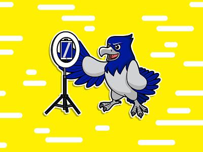 Hawk Debate logo flat draw vector animal logo art character cartoon illustration mascot animal hawk