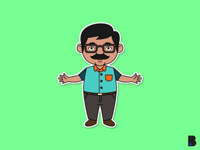 Indian Dad Illustration flat draw children mascot cute character vector cartoon illustration father dad indian