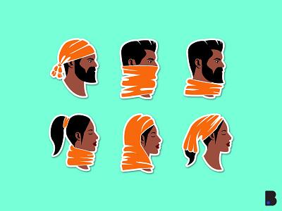 Icons Orange Man Women Africa cute vector art icon set design cartoon illustration head beside view man africa women sticker badge icon
