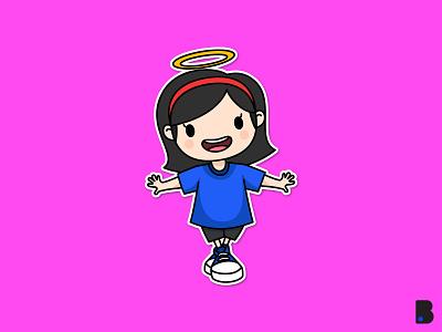 Cute Girl kid flat draw art children mascot character cartoon vector illustration girl cute