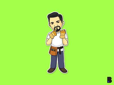 Construction Worker man design flat draw character vector cartoon illustration logo branding brand mascot portrait worker construction