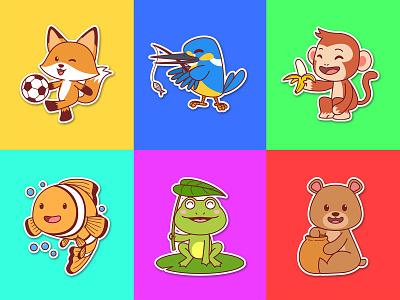 Cute Animal draw art mascot children character vector cartoon illustration fox monkey bird fish frog honey bear animal cute
