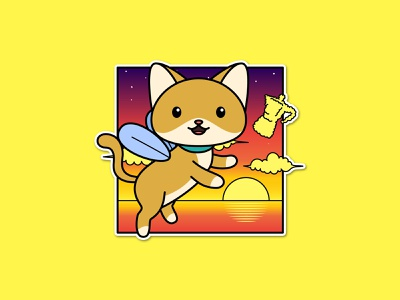 Fly Cat flat draw sticker character vector cartoon illustration cloud nature sky sunset cute animal wings cat fly