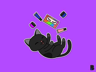 Black Cat design flat draw character vector cartoon illustration play black animal kitty cute cat black cat
