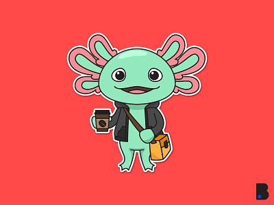 Axotol Fish flat draw character vector cartoon illustration bag cup coffee cute sea water animal axotol